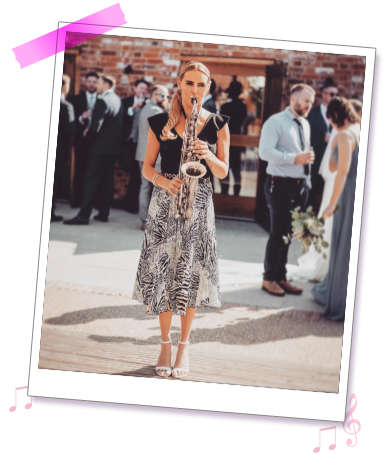 Kay the vocalist from Sister Sax, available as a soloist and part of the duo / trio