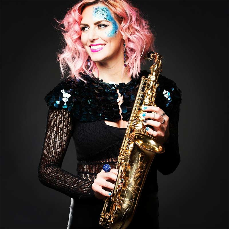 2016 photo - Kay of Sister Sax with her saxophone